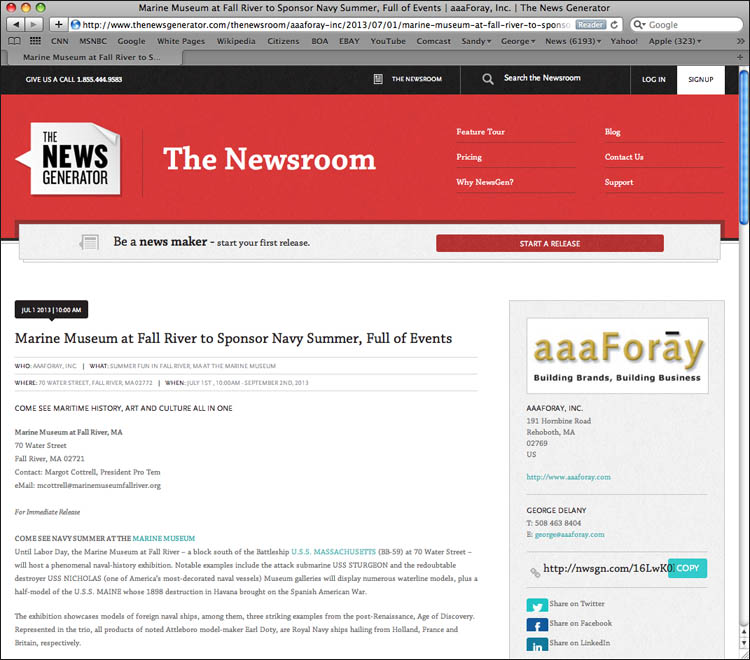 News Generator, On-line: One line, new PR posting, written by aaaForay's George Delany, The News Generator.