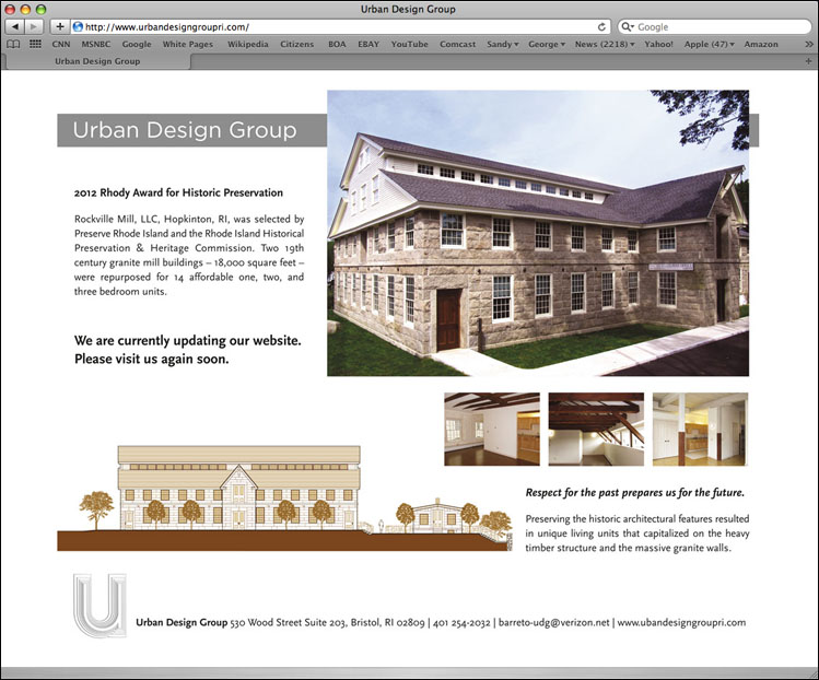 Early-stage website for a Bristol, Rhode Island based architectural and planning firm, Urban Design Group.