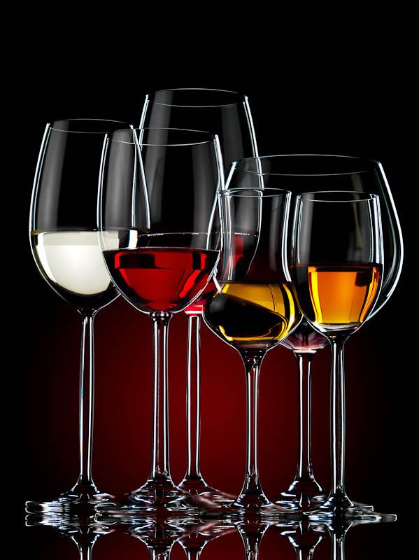Dark still life of wines