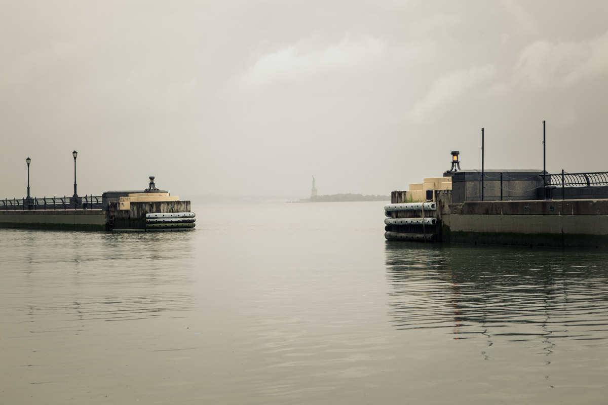 View of the Statue of Liberty from Winter Garden, New York City, hours before the arrival of Hurricane Irene.