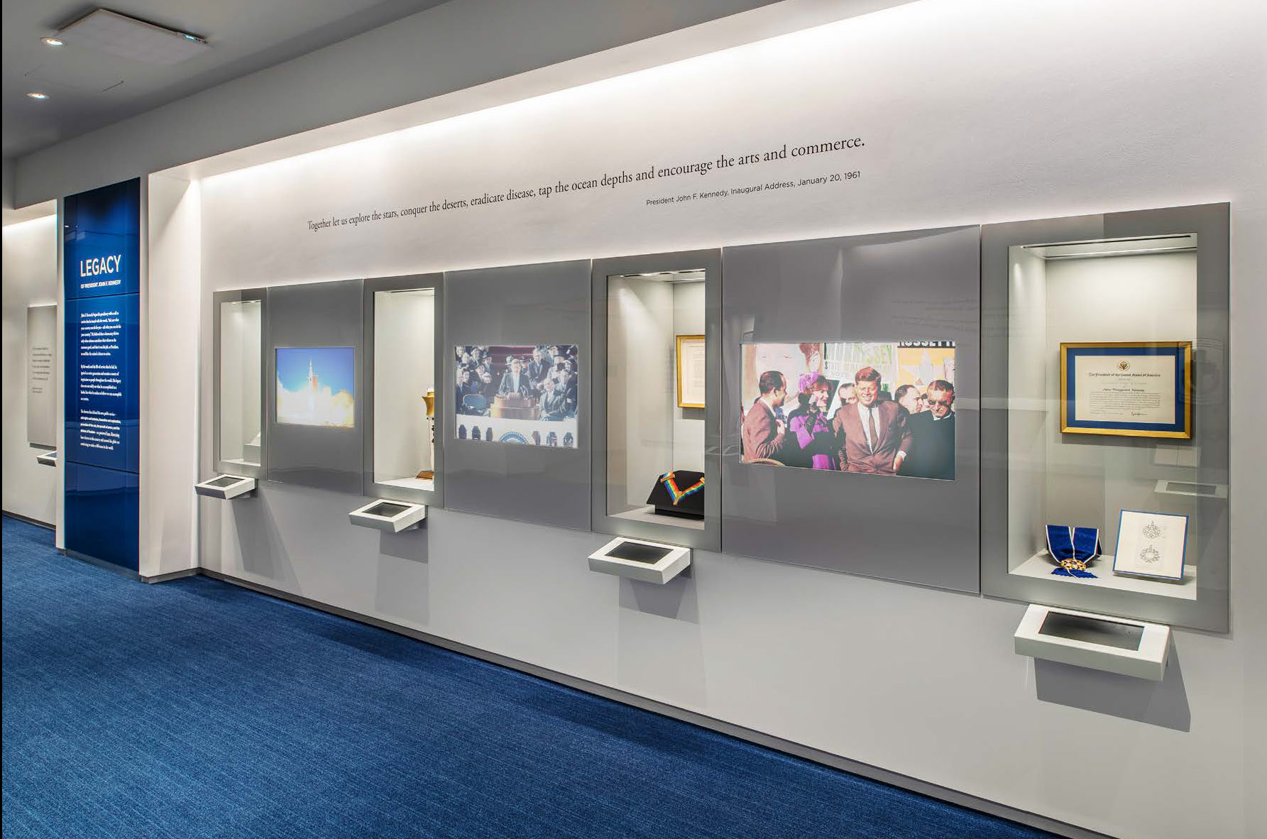 IKD was the architect for the renovation of the John F. Kennedy Library's Legacy Gallery, which highlights domestic and international accomplishments inspired by the legacy of JFK's life and administration. IKD collaborated with the library's in-house exhibition designer, media designer, and graphic designer to completely re-envision the space resulting in gut renovation which including adding multimedia interactive elements, updating lighting and finishes, and negotiating existing structural and HVAC conditions to incorporate new, more functional casework for better display of artifacts. The project was completed recently and the gallery opened in May 2019.