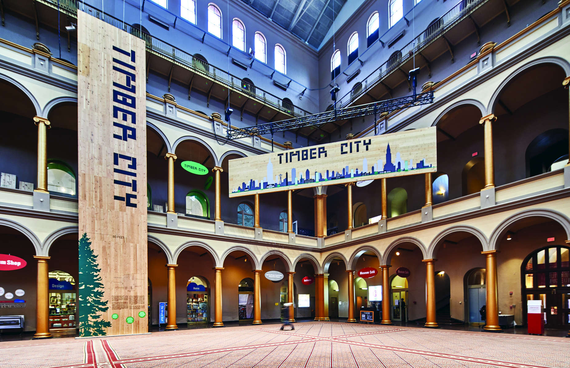 IKD has been hired to curate and design the Timber CIty Exhibition at the National Building Museum in Washington, DC Now open. Photo by Benjamin Kou