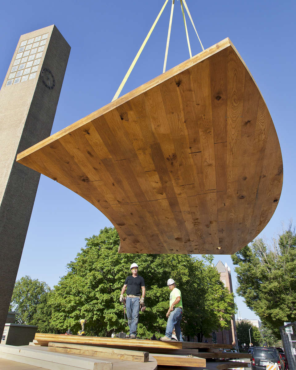 Construction of the First US Hardwood CLT structure, the conversation plinth, with the first domestic pressing of hardwood and hybrid hardwood CLT in colloboration with SMARTlam has begun in Columbus, Indiana