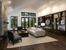 Hardwood floors and floor-to-ceiling windows, help punctuate the open and welcoming feel of this contemporary living room
