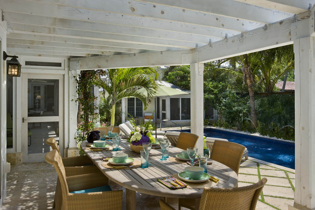A Hawaiian breakfast deck overlooking the pool...