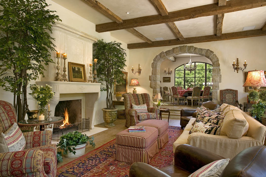 This residence incorporates high, wood beams, for a more traditional interpretation.