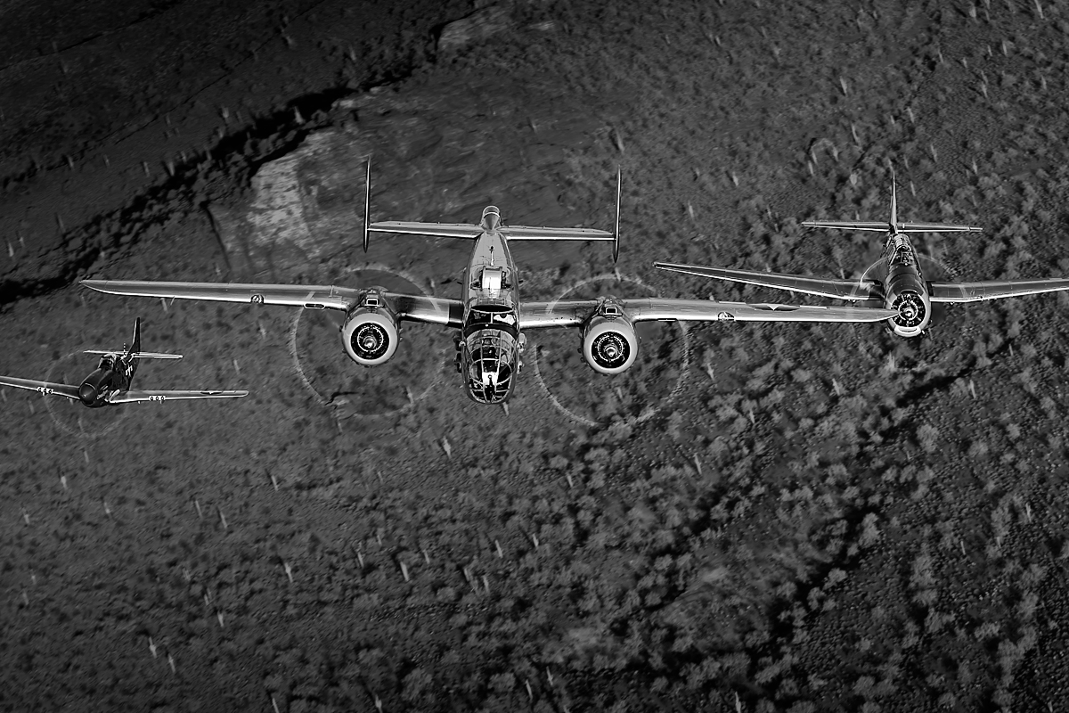 B-25 {quote}Maid in the Shade{quote}, P-51 {quote}Cripes A' Mighty{quote}, TBM-3 AvengerImage no: 12-003869.bw  NOT FOR SALE - CAF Arizona Wing have copyright to B-25 {quote}Maid in the Shade{quote}