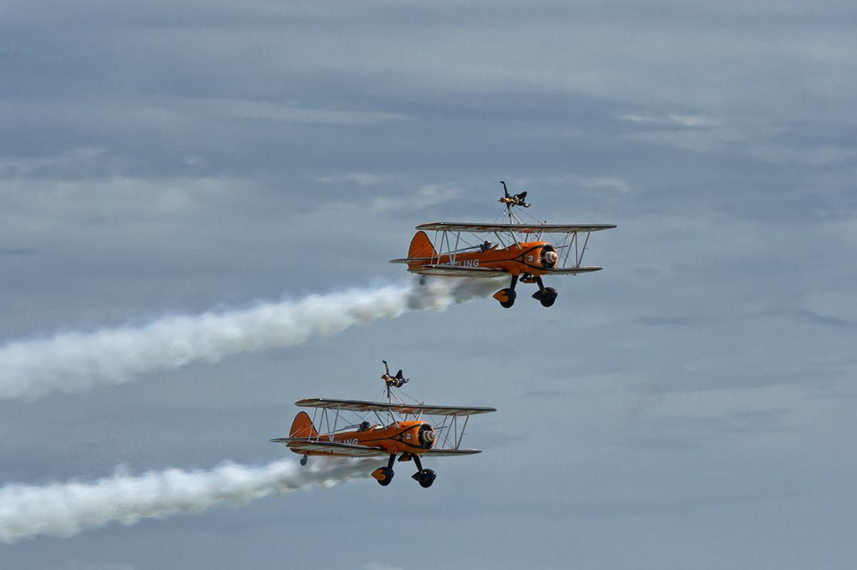 Boeing Stearman BiplanesAeroSuperBatics Ltd. Wingwalkers, UKImage no: 14-019848   Click HERE to Add to Cart