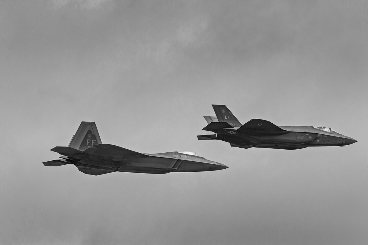 Aviation photography from RIAT RAF Fairford, EnglandUSAF Lockheed Martin F35A Lightning II, Lockheed Martin F-22 Raptor Image no: 16-021350-bw  Click HERE to Add to Cart