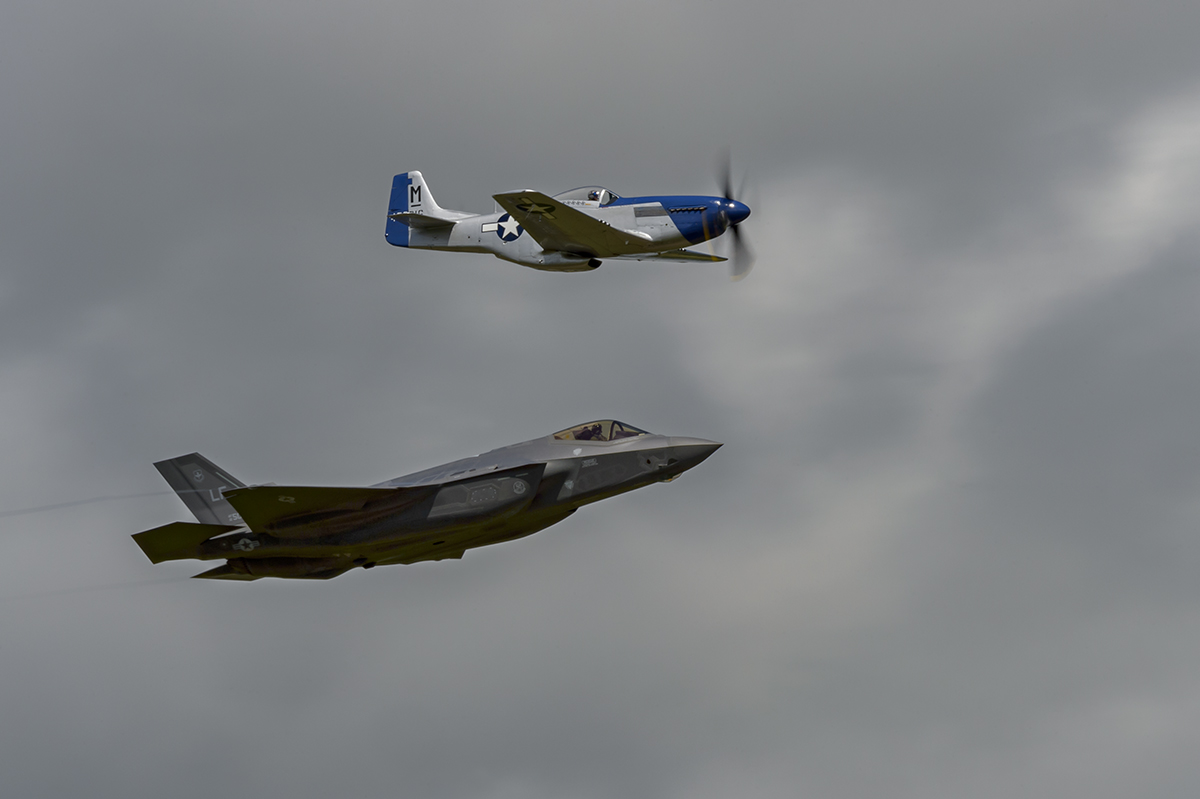 Aviation photography from RIAT RAF Fairford, EnglandUSAF Lockheed Martin F35A Lightning, North American P-51D MustangImage no: 16-026170  Click HERE to Add to Cart