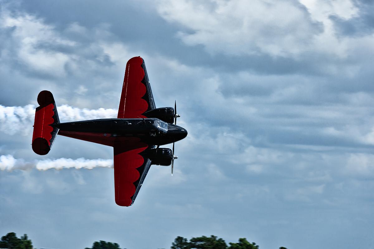 Matt Younin performs aerobatics in his Twin Beech 18