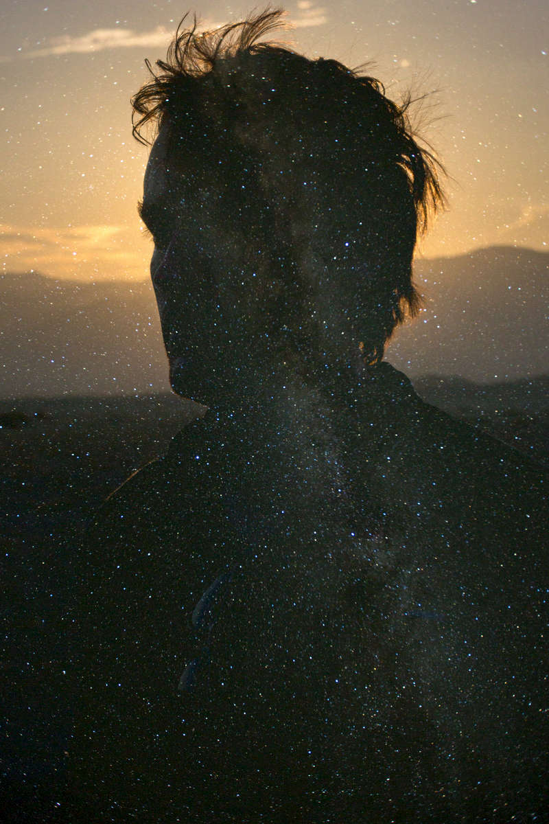 Double exposure of the milky way and myself, Death Valley National Park, California, USA