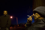 On Dec 2, Abel Alire waits outside for the Taos Men's Shelter to open.  Alire says, after a long waiting period he was finally approved for section eight housing.  He expects to be in his own home by Christmas.  