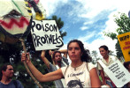 In Los Alamos, New Mexico, on the anniversary of the bombings of Hiroshima and Nagasaki, protesters march toward the Los Alamos National Lab.