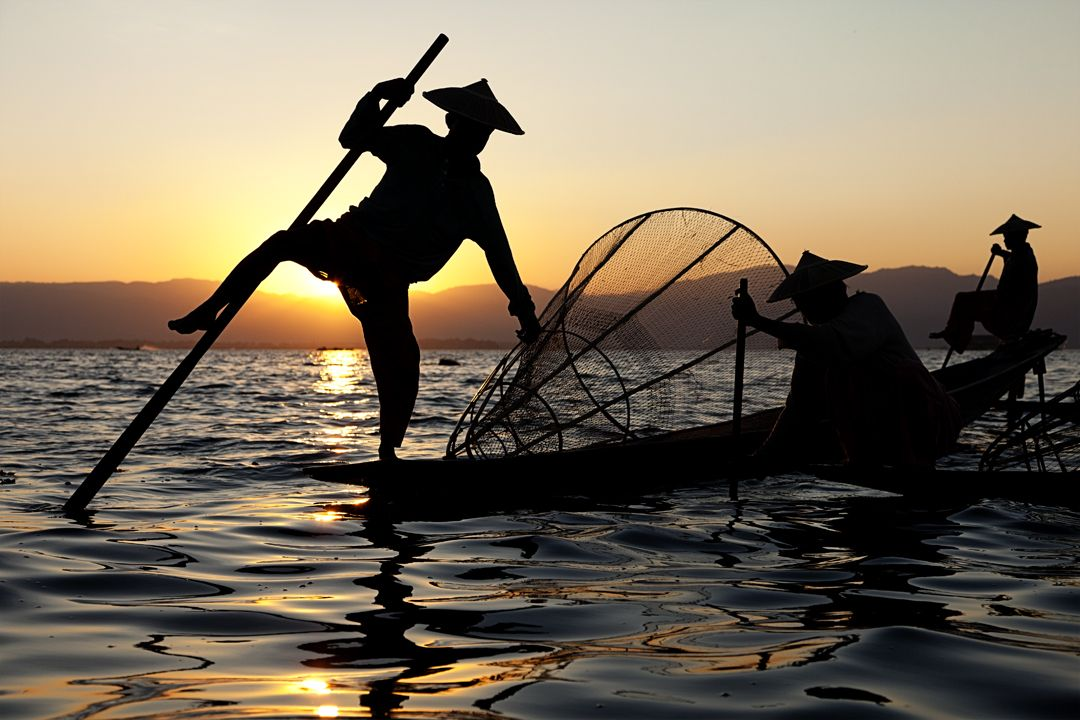 The fishermen of Inle Lake are unique because they steer and paddle the boat with one foot while balancing on the other. They have adapted this technique so their hands can be free to fish with their nets.Inle Lake, Burma