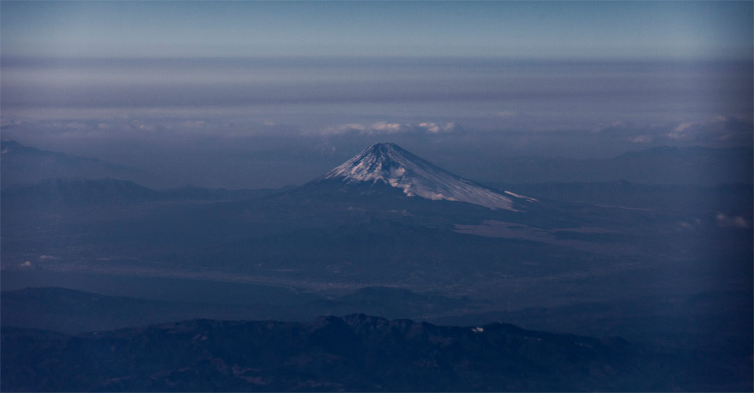 Mount Fuji is Japan's highest peak at over 12,000 ft. I shot this at 30,000 feet. Honshu Island - Japan
