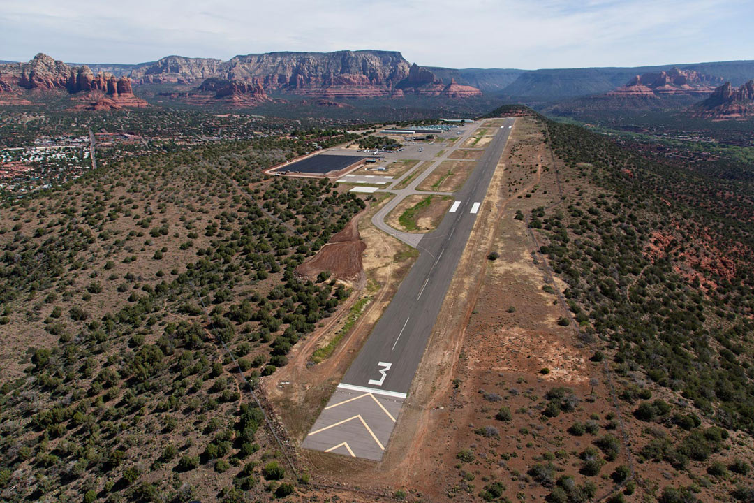 While on a photo trip to Sedona, I was able to shoot the airport from a local helicopter. SEZ- Sedona, Arizona