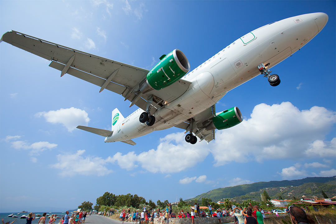 A Germania Airbus A319 seconds before landing. Skiathos Airport (JSI), Greece