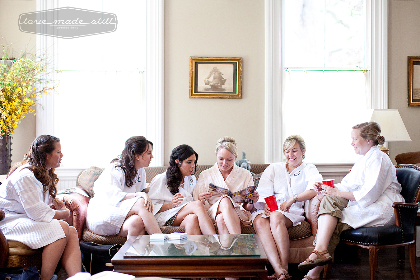Love Made Still Productions phorographs the bridesmaids and bride before the  ceremony