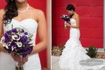 A profile of the entire wedding gown and wedding bouquet