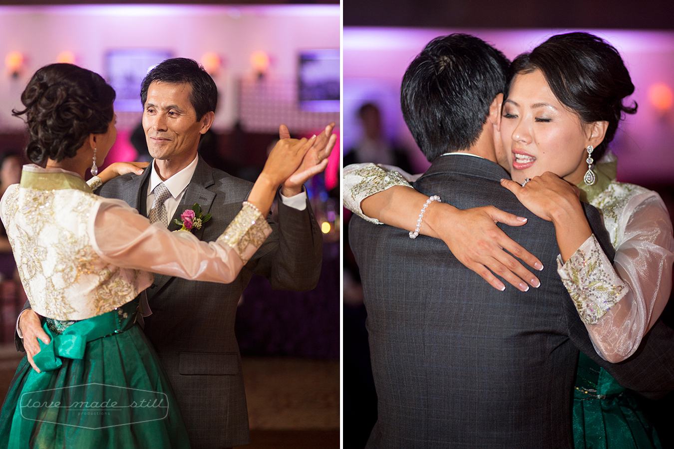 Father and daughter embrace eachother during their dance at the reception