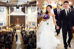 aerial shot of Father and bride walking down the aisle in a church in San Antonio Tx taken by lovemadestill located in Austin Tx