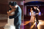 Couple gets down for their first dance during the wedding reception