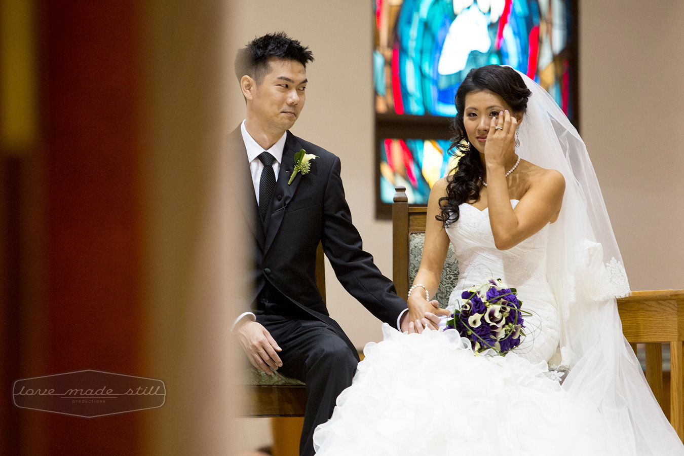Wedding ceremony;Wedding venue;Journalistc wedding photography; Wedding dress;Groom comforts bride;true love; Asian wedding in Austin Tx;