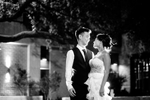 Bride and groom portrait under neath beautiful oak tree in San Antonio