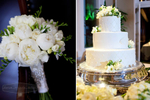 details of the wedding bouquet and wedding cake