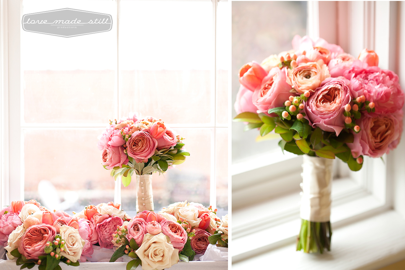 still life of brides wedding bouquets