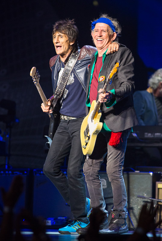 Ronnie Wood, left, and Keith Richards of the Rolling Stones perform at the Wells Fargo Center in Philadelphia.