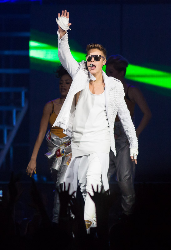 Justin Bieber performs at the Wells Fargo Center in Philadelphia.