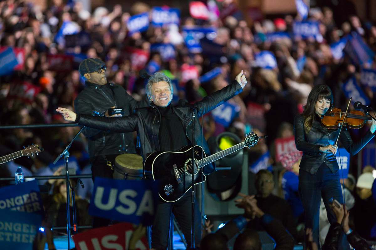 Jon Bon Jovi performs at a Hillary Clinton rally on Independence Mall in Philadelphia.