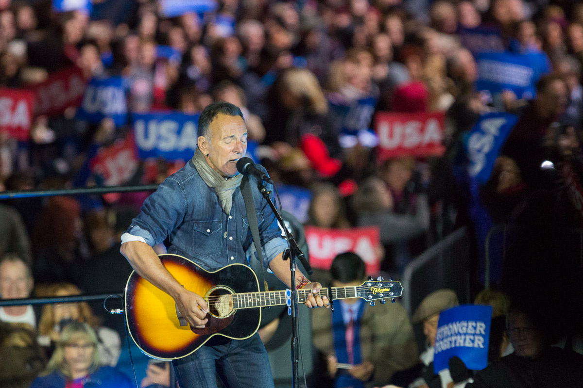 Bruce Springsteen performs at a Hillary Clinton rally on Independence Mall in Philadelphia.
