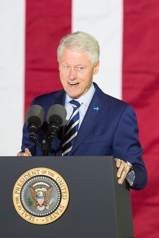 President Bill Clinton speaks at a Hillary Clinton rally on Independence Mall in Philadelphia.