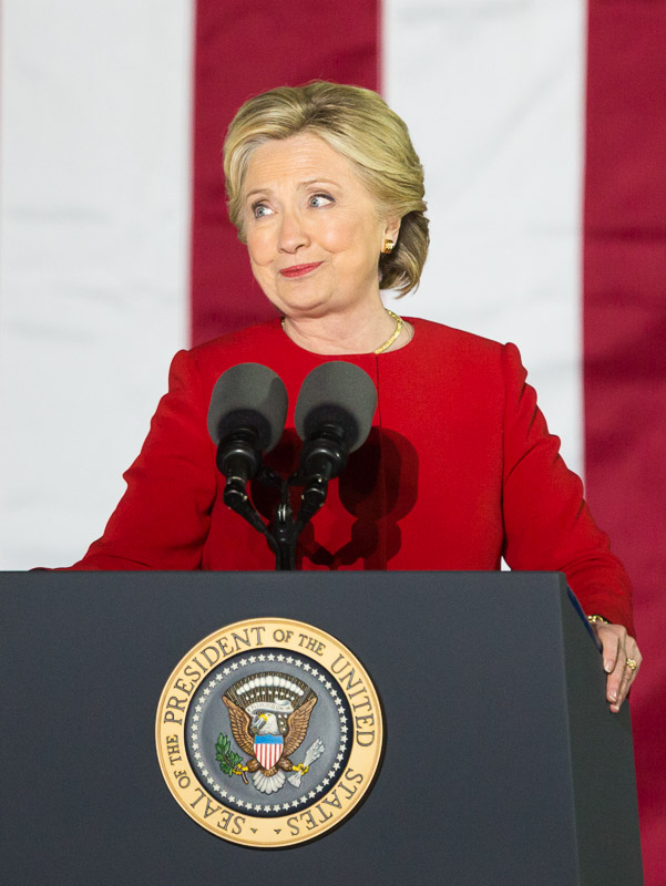 Hillary Clinton speaks at a rally on Independence Mall in Philadelphia.