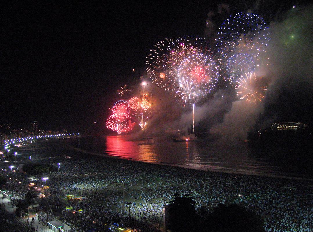 Fireworks on New Year's Eve on Copacabana beach in Rio de Janeiro.