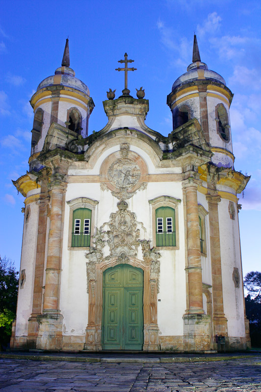 The Church of Saõ Francisco de Assis, begun in 1766, in Ouro Preto, Minas Gerais.