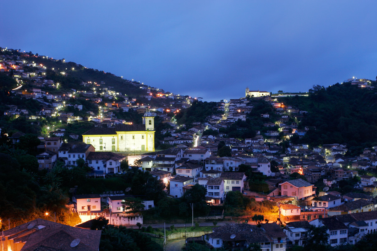 A view across the center of the colonial mining town of Ouro Preto in Minas Gerais.