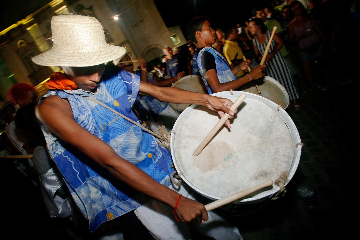 Maracatu drumming at the Noite Para os Tambores Silenciosos (Night of the Silent Drums) in Olinda, Pernambuco.