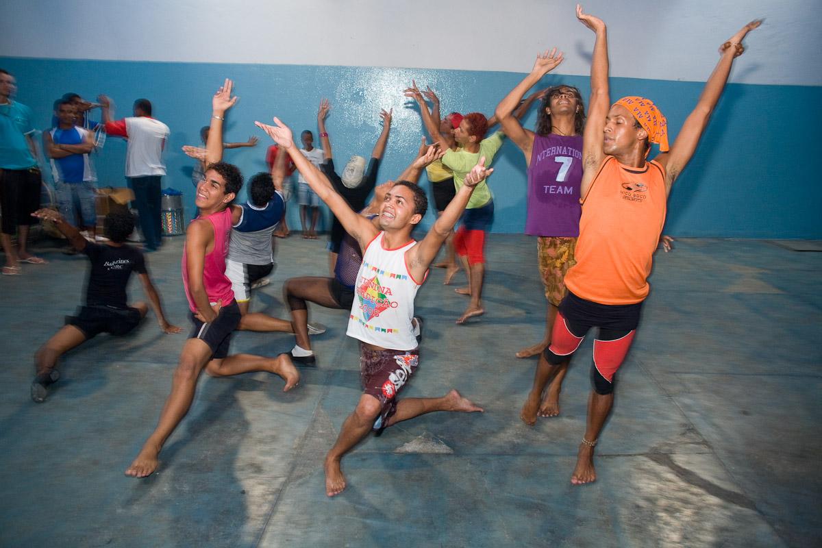 Samba dancers rehearse for carnaval in Recife, Pernambuco.