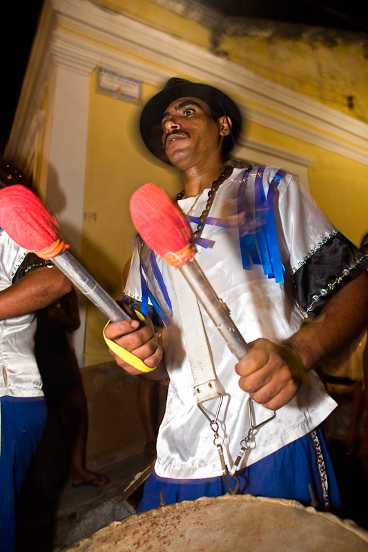 A drummer parades during a street celebration on Ash Wednesday in Olinda, Pernambuco.
