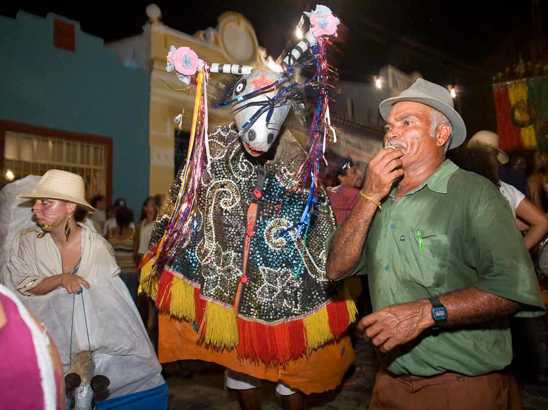 A Bumba Meu Boi costume, part of a Brazilian folk theatrical tradition, at a street celebration on Ash Wednesday in Olinda, Pernambuco.
