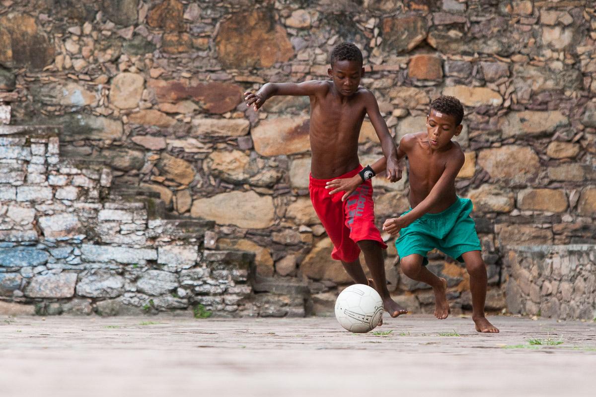 Boys play soccer in Lençois, Bahia.