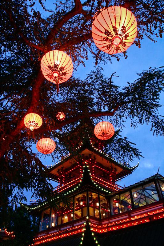 The Pagoda Cafe in the Tivoli Gardens in Copenhagen, Denmark.