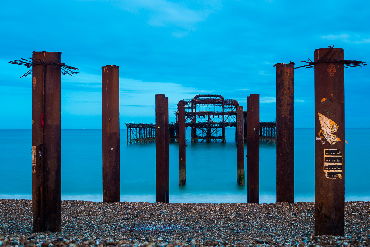 The remains of West Pier in Brighton, England.