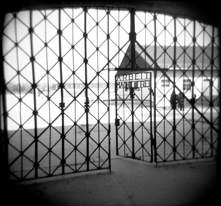 An entrance to Dachau concentration camp with the phrase {quote}Arbeit Macht Frei{quote}, Germany.
