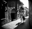Women walk the streets of Sirmione on Lake Garda in Italy.