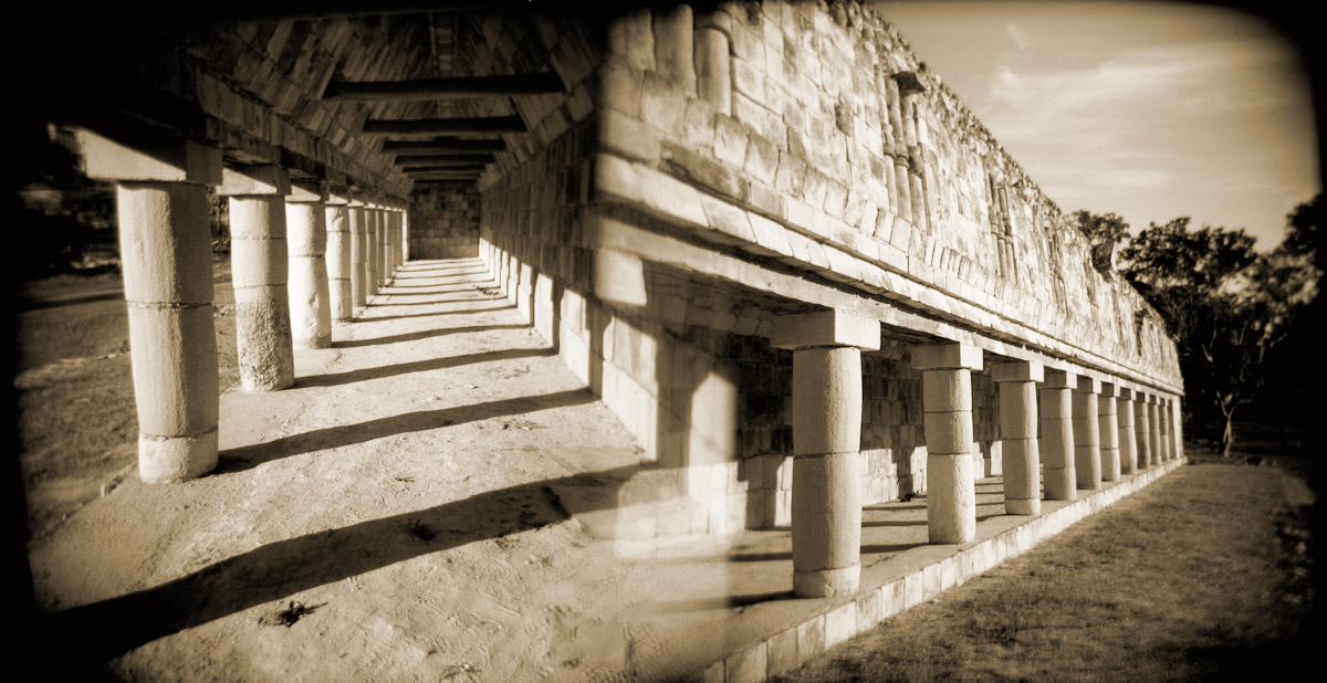 A double image of the small portico at the Mayan site of Uxmal, Mexico.